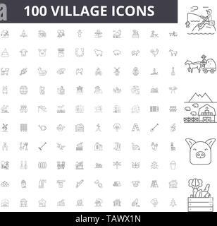 Village line icons, signs, vector set, outline illustration concept  - Stock Image