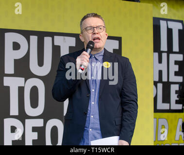 London, UK. 23rd Mar, 2019. Tom Watson MP, Deputy leader of the Labour party speaking at the People's Vote March and rally, 'Put it to the People.' Parliament square London. Credit: Prixpics/Alamy Live News - Stock Image