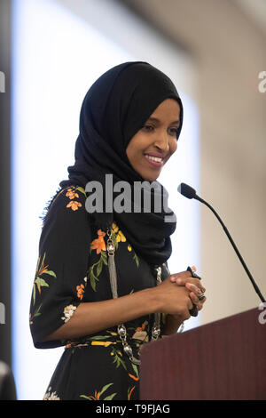 United States Congresswoman Ilhan Omar of Minnesota's 5th Congressional District speaks at the annual city-wide iftar dinner in honor of the 14th day of Ramadan in Austin, Texas. Omar called for peace and harmony in today's divisive climate. - Stock Image