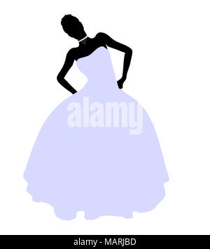 Woman in a wedding dress silhouette illustration on a white background - Stock Image
