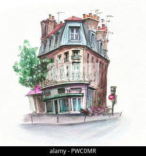 Typical Parisian house, France - Stock Image