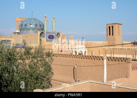 Rooftops and skyline of Yazd old city, UNESCO world heritage site, Iran - Stock Image