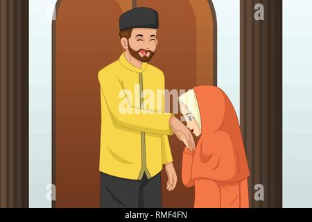 A vector illustration of Muslim Girl Kissing Her Father Hand - Stock Image