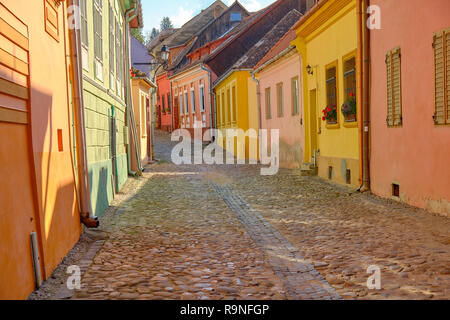 Empty cobbled stone street of Sighisoara, Romania  with colorful houses in the old historical part of town. - Stock Image
