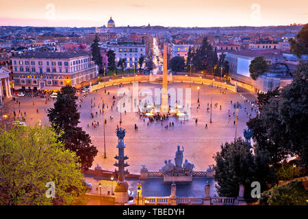 Piazza del Popolo or Peoples square in eternal city of Rome sunset view, capital of Italy - Stock Image