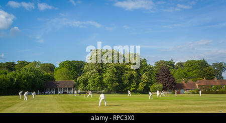A Summer cricket match on Greys Green Rotherfield Greys, Oxforshire. - Stock Image