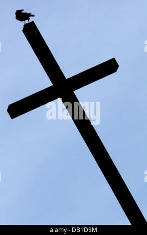 A crow sits on top of a cross in Frankfurt Main, Germany, 2007. Photo: Frank May - Stock Image