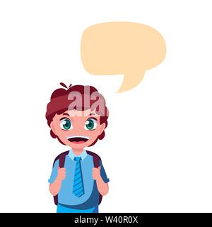 school boy with bag talk bubble vector illustration - Stock Image