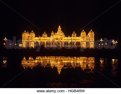 The Palace of Mysore, Karnataka, southern India, was once the official residence of the Wodeyars, who ruled Mysore - Stock Image