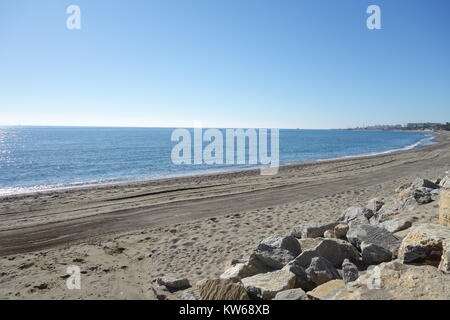 Sea and Beach, Puerto Banus, Marbella, Spain - Stock Image