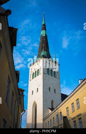 St Olaf's Church Tallinn, ground level view of the 124m tower and spire of St Olaf's Church in the Old Town quarter of Tallinn, Estonia. - Stock Image