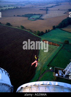 PICTURE CREDIT DOUG BLANE Rupert the Bare BASE jumper jumping off a cold war tower Great Britain - Stock Image