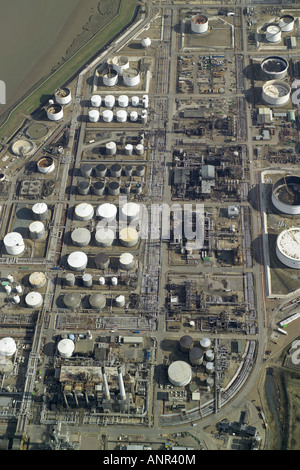 Aerial view of Coryton Oil Refinery near Canvey Island in Kent. The refinery is on the Thames Estuary and is owned - Stock Image