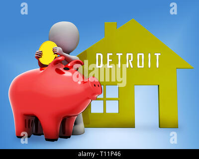 Detroit Property Piggybank Denotes Real Estate Selling Or Buying In Michigan. Housing Development And Realty Rental - 3d Illustration - Stock Image
