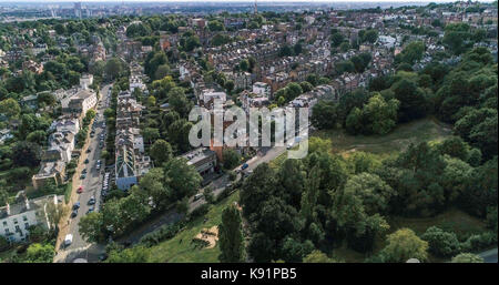 Aerial view of a residential Victorian village in North London - Stock Image