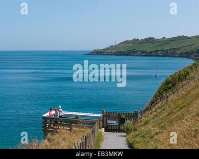 Viewing platform at Hallsands looking towards Start Point in Devon in England UK - Stock Image
