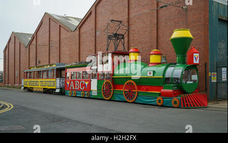 Blackpool's Illuminated 'Western' Train Parked in Blundell Street Outside Rigby Road Depot -1 - Stock Image