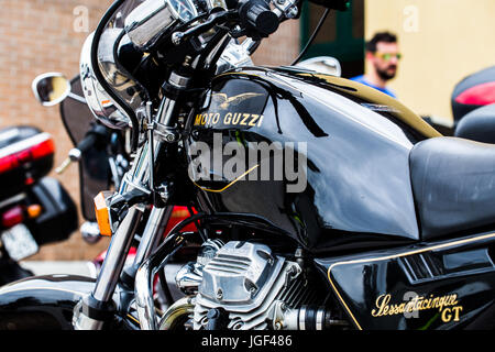 Italian, black motorcycle Moto Guzzi Sessantacinque GT (65). - Stock Image