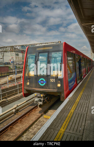 dlr train docklands light railway - Stock Image