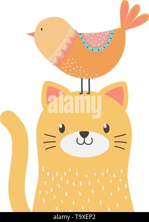 Cat and bird cartoon design, Animal cute zoo life nature and fauna theme Vector illustration - Stock Image