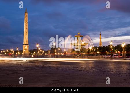 Place de la Concorde and Eiffel Tower at sunset Paris France - Stock Image