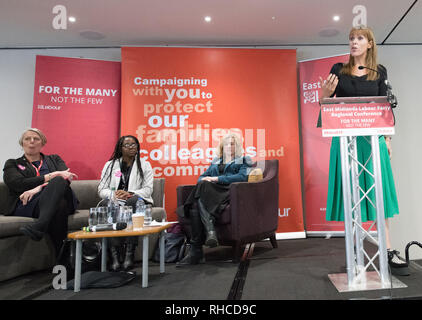 East Midlands Labour Party Conference 2019, Nottingham, Nottinghamshire, England, UK. 2nd. February, 2019. Labour's Shadow Education Secretary Angela Rayner M.P. debating on the National Education Service, a key Labour Party policy with party members at the East Midlands Labour Party Conference 2019. Alan Beastall/Alamy Live News - Stock Image