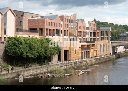 The new MIlburngate riverside shopping centre nearing completion, Durham City, England, UK - Stock Image