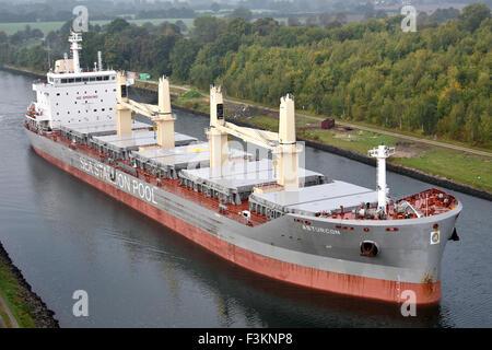 Handysize bulkcarrier Asturcon passing the Kiel Canal - Stock Image