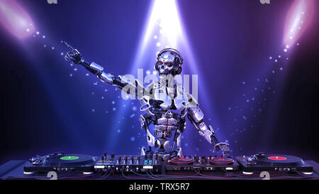 DJ Robot, disc jockey cyborg pointing and playing music on turntables, android on stage with deejay audio equipment, 3D rendering - Stock Image