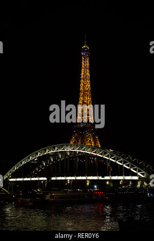 PARIS, FRANCE - NOVEMBER 9, 2018 - Tour Eiffel night illumination. Eiffel Tower is the most visited monument in France - Stock Image