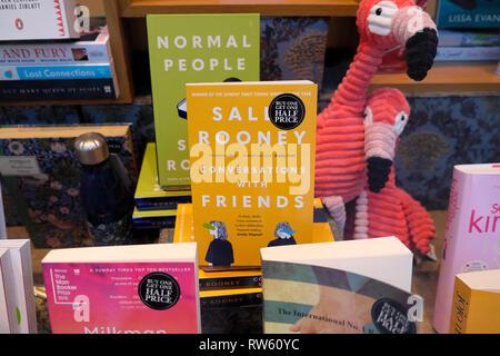 Sally Rooney Books in Waterstones bookshop window display in London England UK  KATHY DEWITT - Stock Image