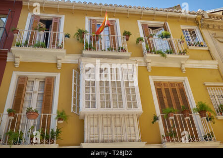 typical old facade in Málaga city. Andalusia, Spain. - Stock Image