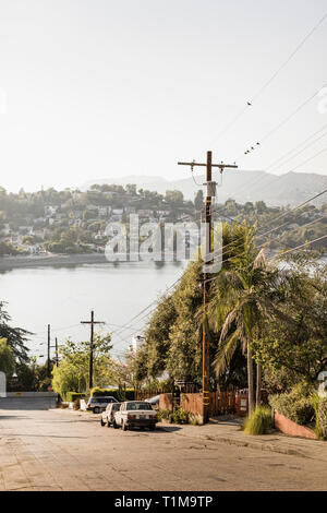 Neighborhood with sunny lake view, Los Angeles, California, USA - Stock Image