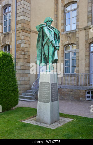 Statue in Fougères of  Charles Armand Tuffin who served in the American War of Independence as Colonel Armand - Stock Image