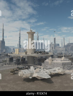 Space Ship at a Future City Spaceport - Stock Image