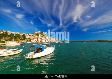 UNESCO town of Sibenik sailing destination coast view, Dalmatia, Croatia - Stock Image
