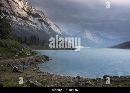Medicine Lake, Jasper National Park, Alberta, Canada - Stock Image