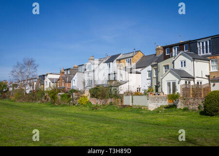 Back gardens of terraced houses at Hinksey, Oxford - Stock Image