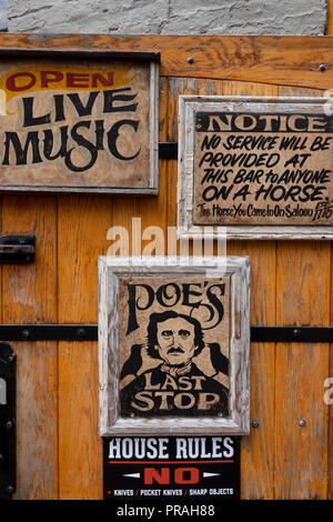 USA Maryland MD Baltimore Fells Point The Horse You Came in On Saloon Edgar Allan Poes last stop for a drink before his death - Stock Image