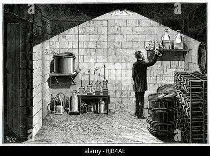 Before mains electricity became available, those who could afford it installed their own electricity power plants, generally in the cellar, as here. - Stock Image