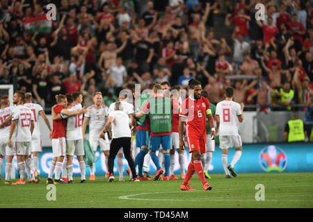 during the UEFA Euro 2020 Qualifying, Group E match at the Groupama Arena, Budapest. - Stock Image