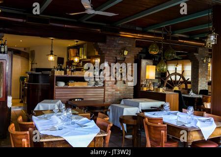 Marine decoration of a restaurant. Jesolo, Italy. - Stock Image