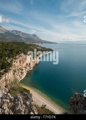Famous Nugal beach and calm blue sea on sunny summer day in Croatia - Stock Image