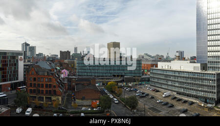 Manchester city centre skyline from Miller Street in the Northern Quarter - Stock Image