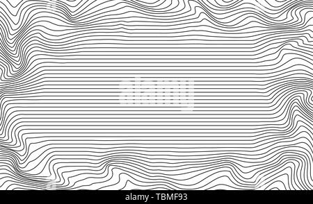 Abstract vector background of waves. 3D optical illusion, line art. - Stock Image