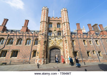 St Johns College Gate to First Court from St Johns Street Cambridge 2019 - Stock Image