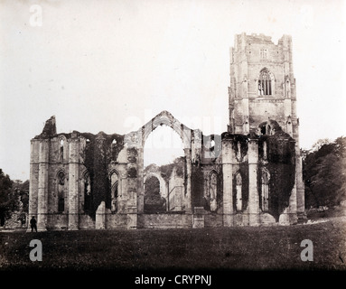 Ruins of Fountains Abbey, Yorkshire, 1855, by Philip Henry Delamotte - Stock Image