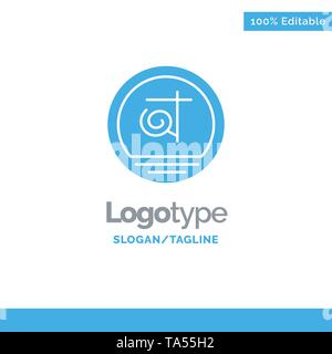 Bangla, Bangladesh, Bangladeshi, Business Blue Solid Logo Template. Place for Tagline - Stock Image