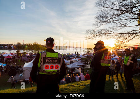 VANCOUVER, BC, CANADA - APR 20, 2019: Vancouver Police officers patrolling the crowd at the 420 festival in Vancouver. - Stock Image