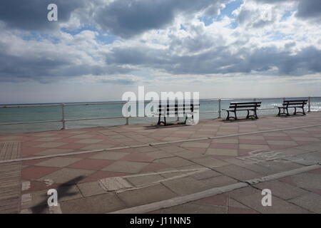 Benches, Hastings , East Sussex - Stock Image